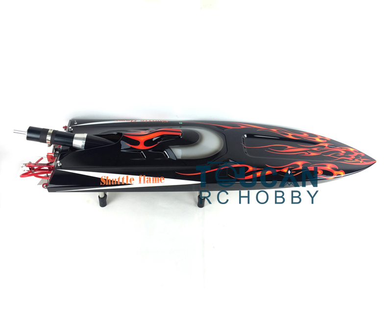 G30D ARTR Fiberglass RC Monohull Boat 30CC Engine WaterCoolingSys Black with Red Flames aluminum water cool flange fits 26 29cc qj zenoah rcmk cy gas engine for rc boat