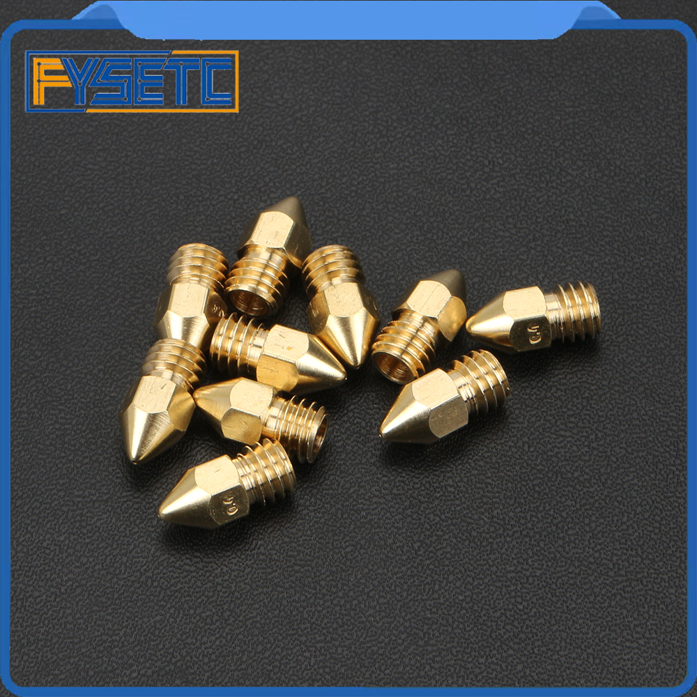 5pcs New Arrival Zortrax M200 Nozzle 0.4mm For Brass Steel Bore 3.5mm Screw Thread M6 Print Head For 3D Printer Parts