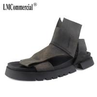 Летние Для мужчин Рим сандалии в британском ретро стиле из натуральной кожи кроссовки Для мужчин тапочки вьетнамки повседневная обувь пляж