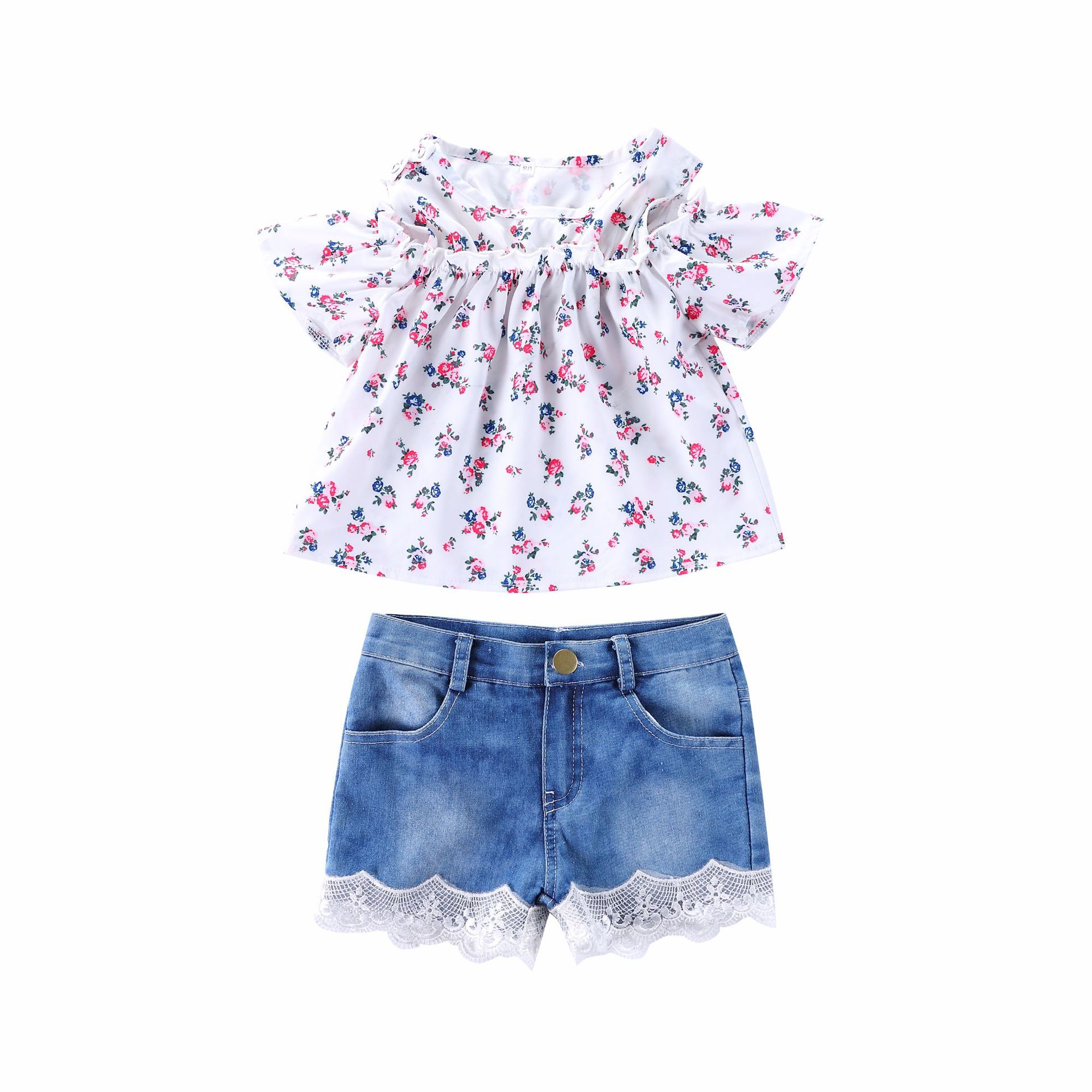 Toddle kids girl outfits set Flower Printed Top+Lace Denim Shorts suit for girls baby clothing