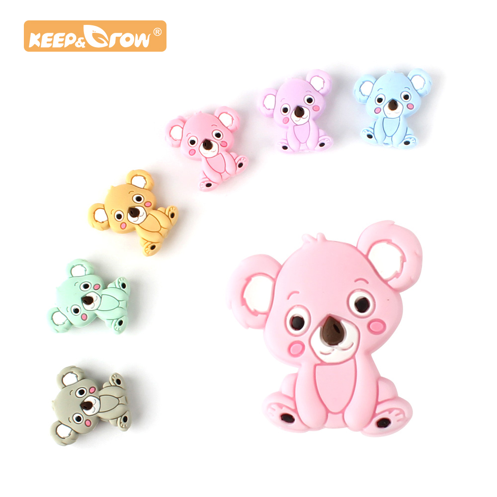 Keep&Grow 10pcs Koala Silicone Beads Silicone Teether Accessories DIY Silicone Bead Teething Necklace Self Made Gifts