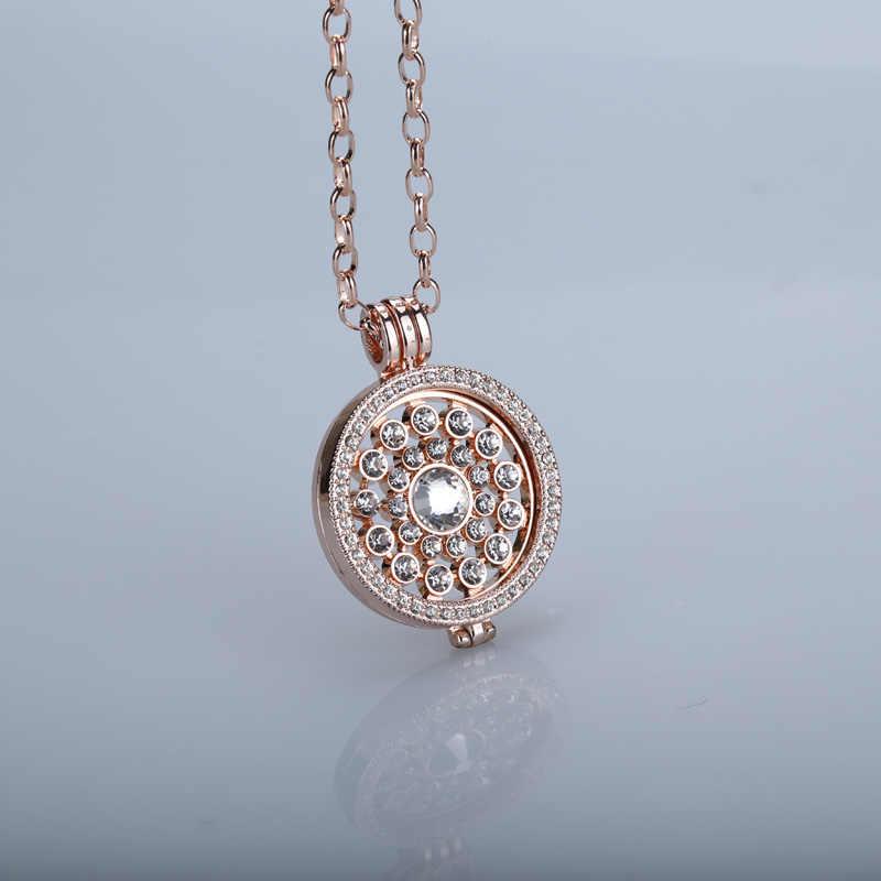 Nowy mój 33mm monety fit 35mm uchwyt na monety feliz wisiorek naszyjnik kryształ dla kobiety Ms dziewczyna dekoracyjne rose złote monety