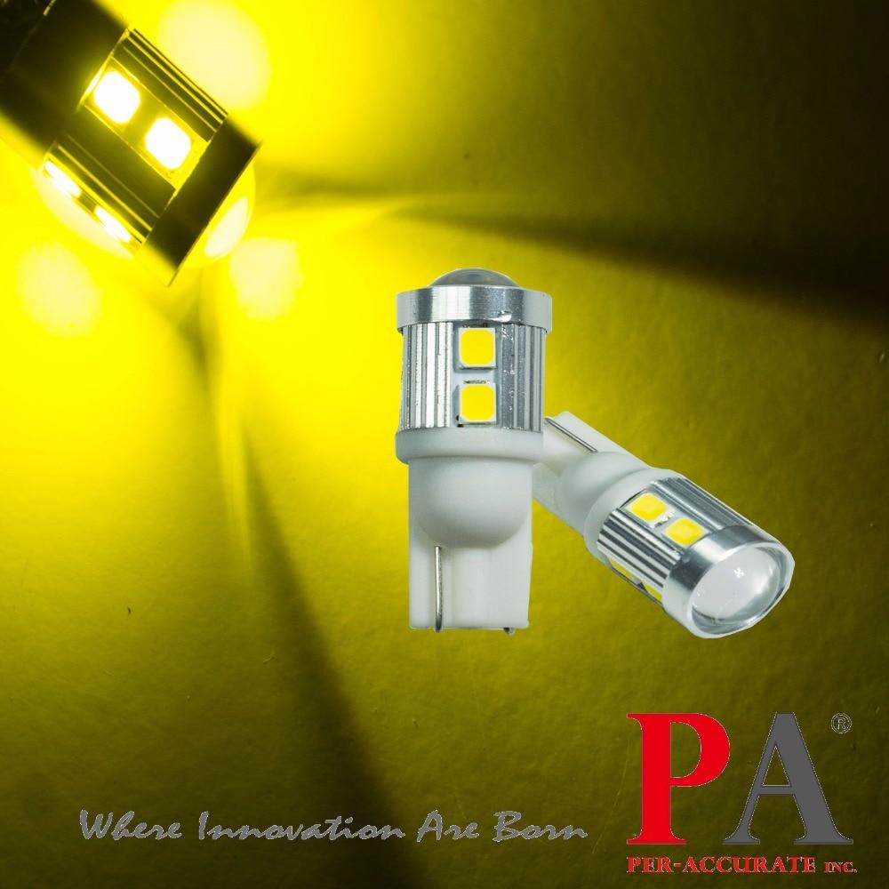 PA LED 4pcs x New Type Car Interior Light Led Car Bulb T10 194 168 W5W 2835 LED Golden Yellow Color