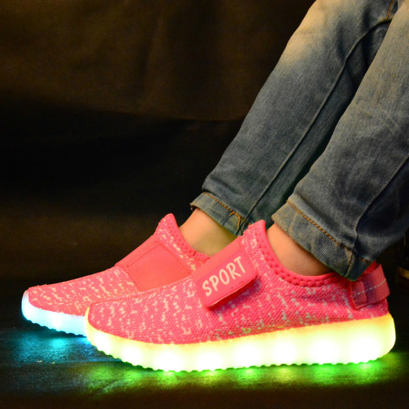 Kids USB Charge LED Light Up Children Kids Boys Girls Knitted Trainers Luminous Sneakers Shoes Boys Girls Night light Shoes children usb charger luminous shoes lace boys girls led light sneakers fashion kids night show casual shoes brand