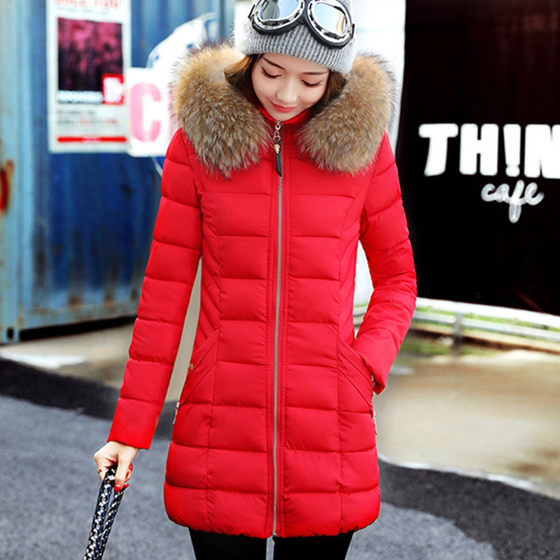 2017 Fur Collar Women Winter Hooded Coat Female Outerwear Parka Ladies Warm Long Jacket Slim jaqueta feminina plus size 3XL