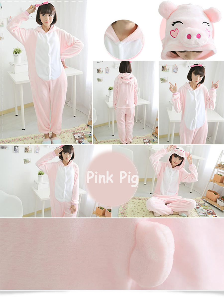 Pink Pig Onesies Cartoon Animal Cosplay Costume Adult Pyjamas Flannel Sleepwear for Halloween (7)