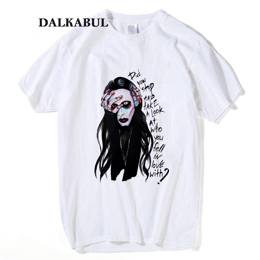 Marilyn Manson T Shirt Men Women Rocker Music Singer Hip Hop  Fashion Casual T-shirt Men Short Sleeve 100% Cotton Top Tees