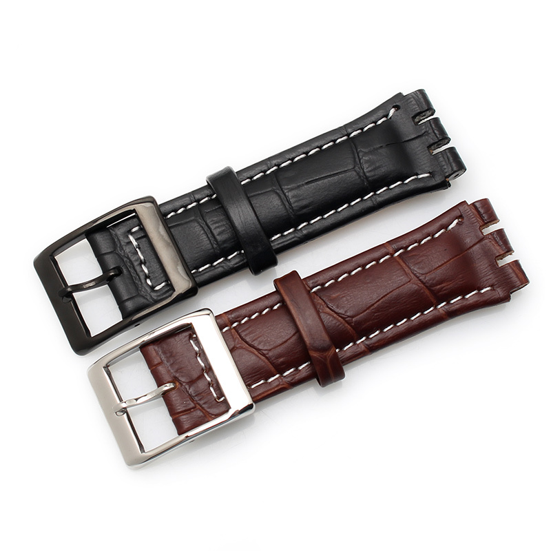 Image 2 - 17MM 19MM Genuine Calf Leather Watch Band Steel Clasp For Swatch Watch YRS YCS Strap Watchband Bracelet Man Fashion Wrist +Tools-in Watchbands from Watches