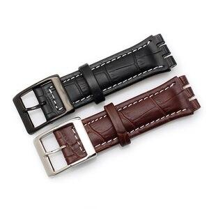Image 2 - Fermoir en cuir de veau véritable, 17MM 19MM, en acier Bracelet de montre, pour montre Swatch YRS YCS, Bracelet de montre, à la mode pour hommes, poignet + outils