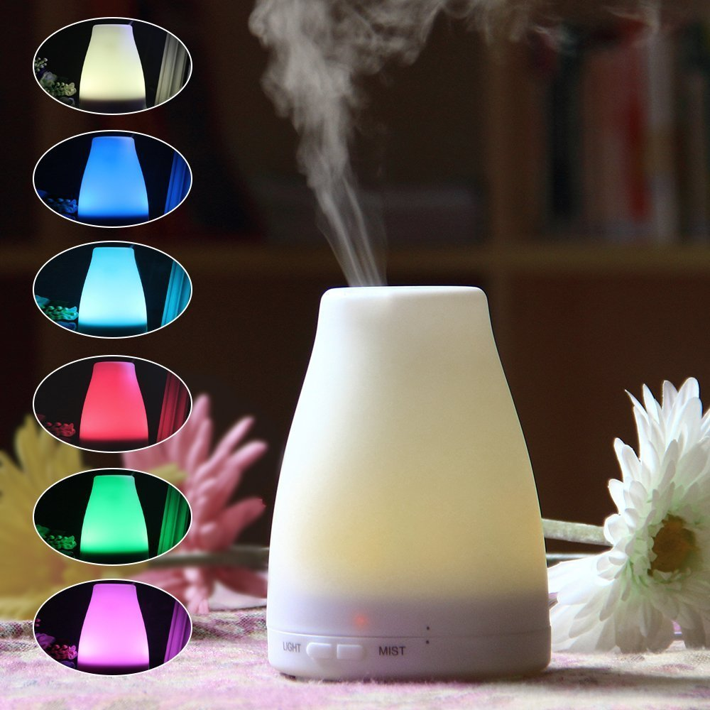 7 Colors LED Light Changing Bottle Aromatherapy Essential Oil Diffuser Aroma Essential Oil Cool Mist Ultrasonic Humidifier crdc air humidifier ultrasonic 100ml aroma diffuser glass essential oil diffuser mist maker with 7 colors changing led light