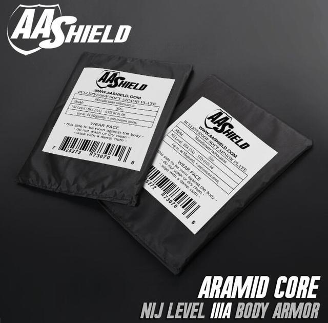 AA Shield Bullet Proof Soft Armor Panel Body Armor Inserts Safety Plate Aramid Self Defense Supply NIJ Lvl IIIA & HG2  6x8 Pair