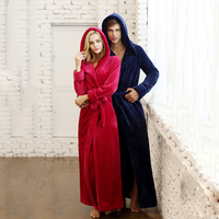Women And Men Unisex Winter Lovers Design Lengthen Thickening Flannel Plus Size With Hooded Sleepwear Robe