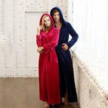 Women and Men Unisex Winter Lovers Design Lengthen Thickening Flannel Plus Size with Hooded Sleepwear Robe Bathrobe LoungeWear