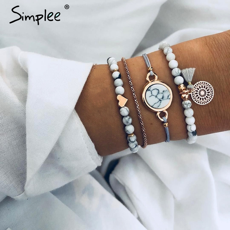 Simplee Fashion multilayer bracelet women accessories Beading trendy metal fine jewelry Party streetwear tassel clothing jewelry bracelet