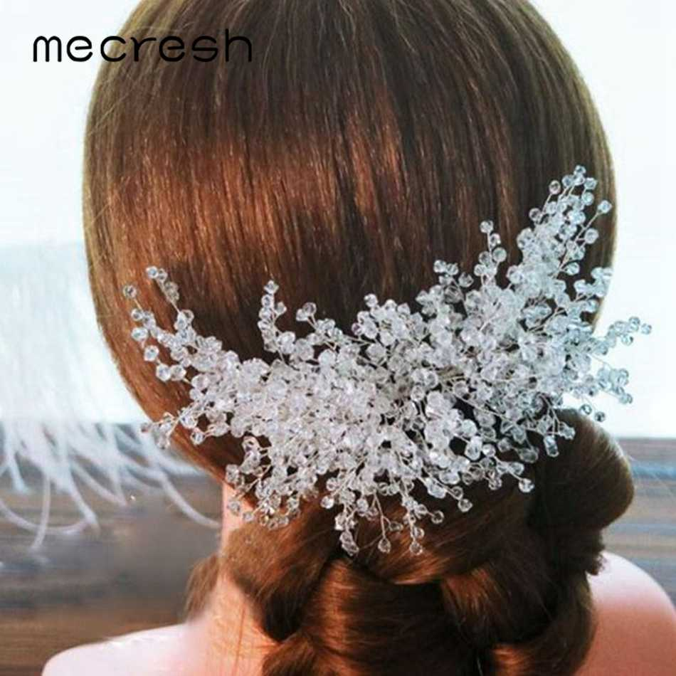 Mecresh Fashion Resin Beads Bridal Hair Combs Women Accessories Luxury Girls Headpiece Wedding Hair Comb Jewelry for Bride FS183