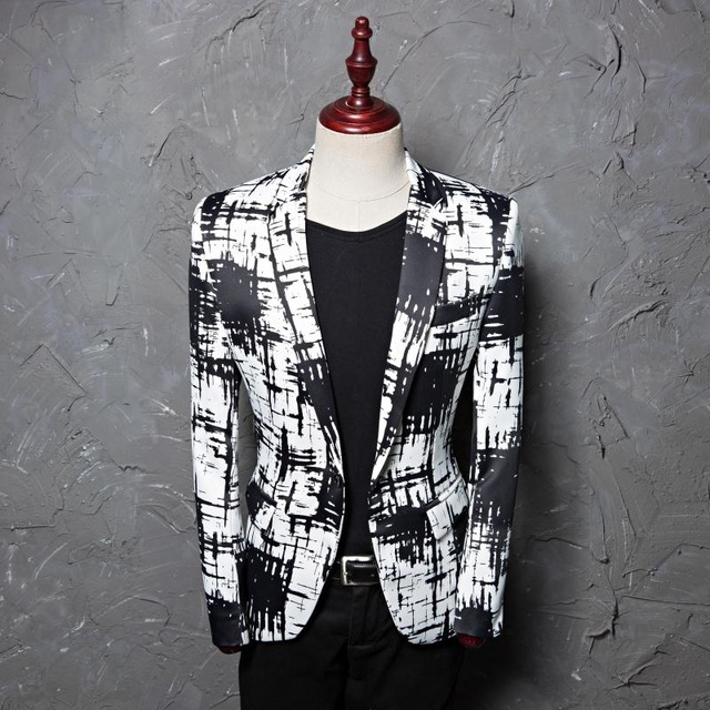 Black White Stripe Mens Blazers Personality Printing Casual Smart Casual Coat Singer Star Compere Stage Outfit Costume CD50