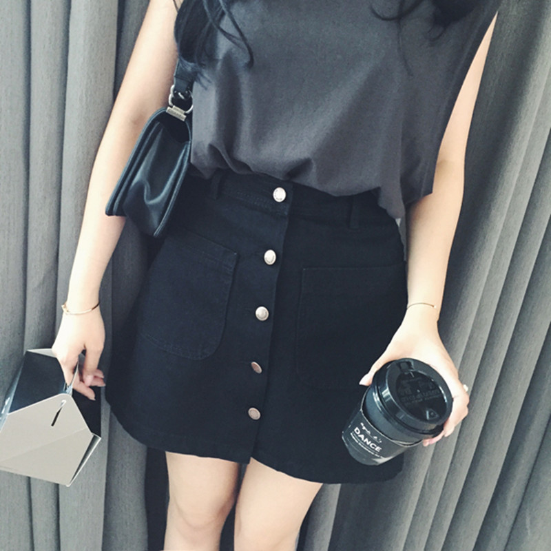 New 2019 Summer Girls A-Line Korean Mini Jeans Skirt Single Button Slim Waist Denim pencil Skirts Summer Cheap Sexy Skirt Women