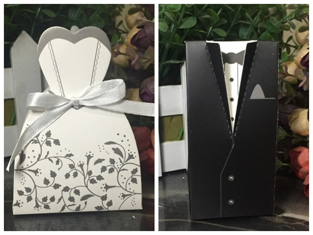 200pcslot100pairs traditional bridal shower favor candy box of bride and groom gift