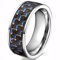 Free Shipping Black Blue Wood Inlay 316L Stainless Steel Jewelry Men's Wedding Band Cocktail Ring Free Shipping