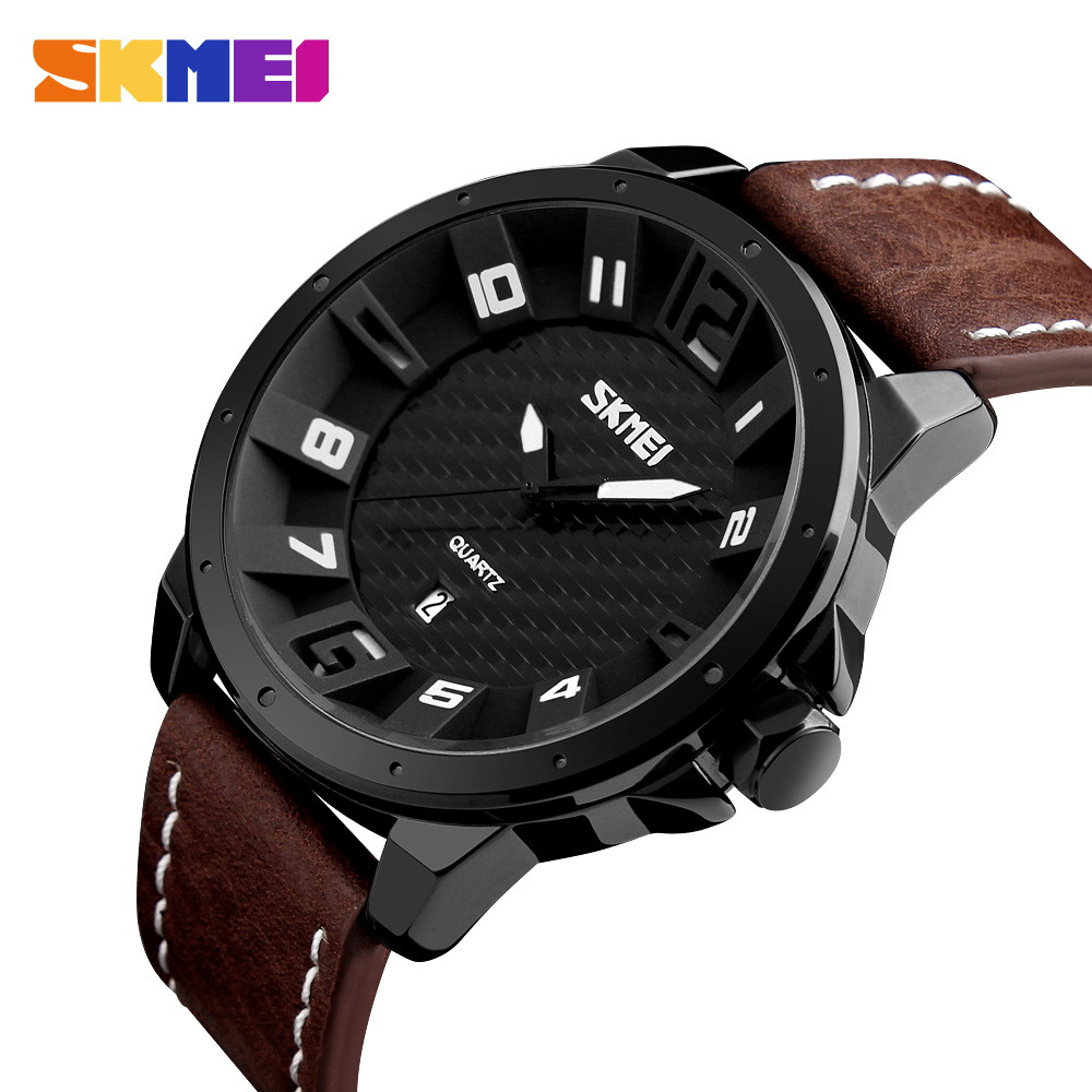New Watches Men Fashion SKMEI Brand Men Quartz Hour Date Clock Man Leather Strap Sport Casual Waterproof Wrist Watch 2017 new brand skmei men fashion quartz watch casual business date watches leather waterproof dress wristwatches