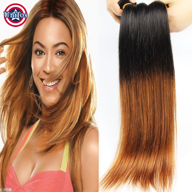Brazilian Straight Ombre Hair Weave 2 Bundles 100 Human Hair Two