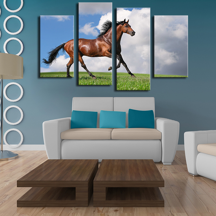 4 Pieces horse art large picture frames Wall painting print on