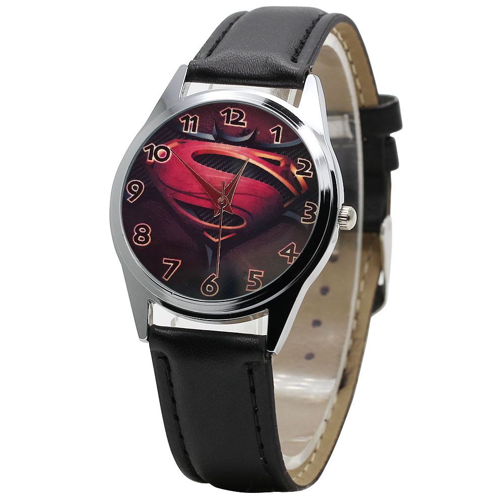 New Leather Superman Cartoon Children's Watch 5 Color Boy Quartz High-grade Clock Girl Student Sports Watch Child Christmas Gift