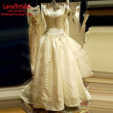Vintage Ball Gown Lace Beaded Corset Wedding Dresses 2016 Backless Long Satin Bridal Gowns vestidos de noiva com foto real XW151
