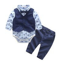 3pcs Set Baby Boy Clothes Gentleman Suit Romper Shirt + Waistcoat + Pants Outfit Birthday Wedding Cute Kids Baby Boys Outfit