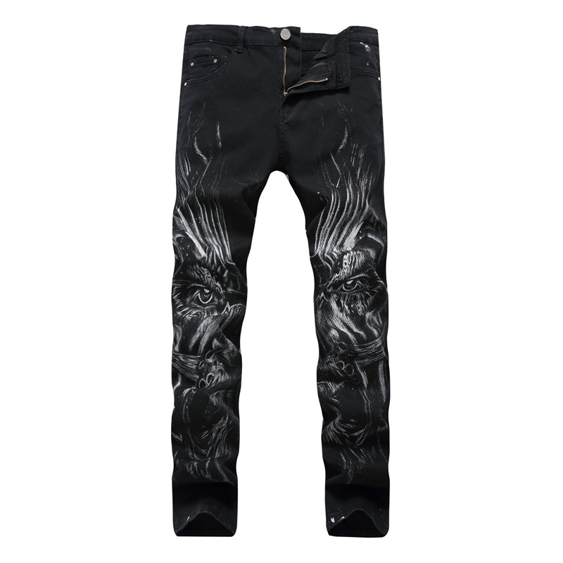 New Dropshipping Night Club 3D Print Biker Men Jeans Moto Skinny Punk Denim Skull Jeans Black Trousers 28-40 Slim Fit Cotton charter club petite new black buckle print crossover top ps $49 5 dbfl