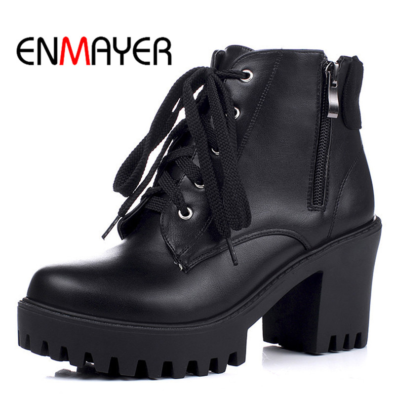 ENMAYER Zipper Round Toe Ankle Boots High Heel Platform Riding Boots Square Heel Woman Black Large Size 34-43 Shoes for Lady 10pcs free shipping 216 0707005 216 0707009