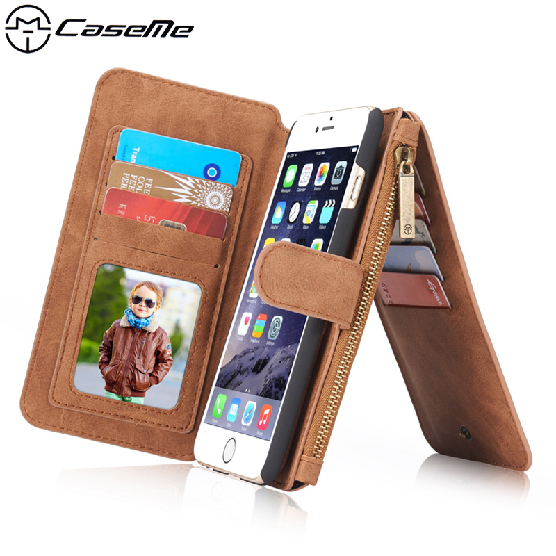 For Apple <font><b>iPhone</b></font> 6 6s Plus Retro Quality Leather Case Zipper Wallet Card Multifunction Magnetic Phone Back Cover For <font><b>iPhone</b></font> 6s