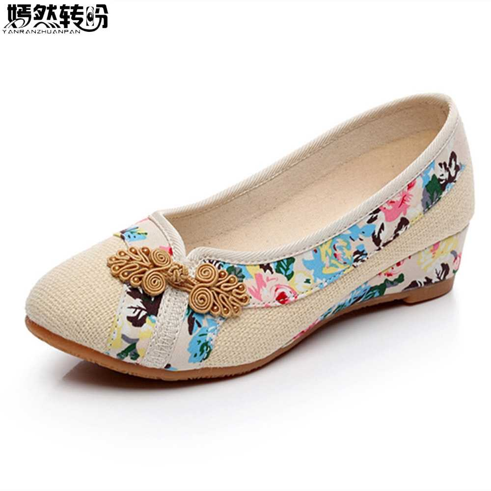 Sping New Women Shoes Old Peking Retro Flats Chinese Flower Embroidery Canvas Linen Shoes Sapato Feminino Size 35- 40