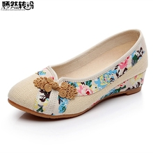 2018 Sping New Women Shoes Old Peking Retro Flats Chinese Flower Embroidery Canvas Linen Shoes Sapato Feminino Size 35- 40 недорого