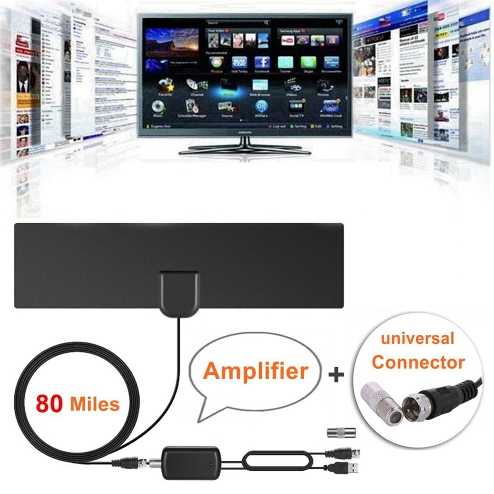 Indoor TV Antenna Digital HDTV Antenna 80 Miles Rangs with Amplifier Signal Booster High-Definition VHF Freeview Aerial For Home