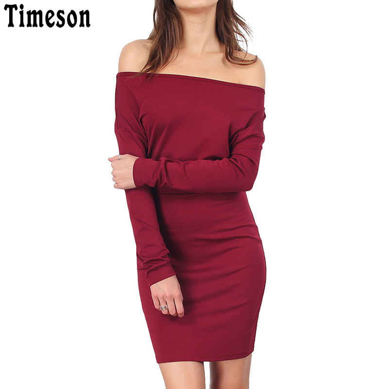 Timeson Slash Neck Off Shoulder Long Sleeve Mini Bodycon Dress Women 2018 Summer Casual Knitted Robe Femme Tunic Ladies Dresses round neck ladies sweater dresses cotton knitted 2018 summer womens mini dresses long sleeve party dress robe longue femme q1