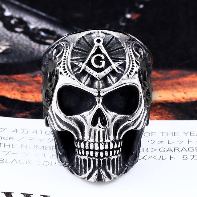 STAINLESS STEEL FREEMASONIC SKULL RINGS
