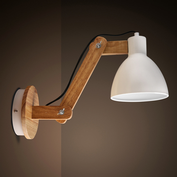 Nordic Creative Solid Wood Bedside Shake Arm Adjustable Wall Lamp Retro Study Cafe Restaurant LED Wall Light Fixtures