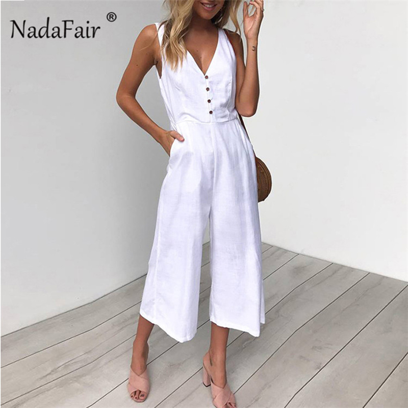 Nadafair Jumpsuits Women Casual Cotton Linen   Rompers   Womens Jumpsuit 2019 Summer V Neck High Waist Wide Leg Jumpsuits White