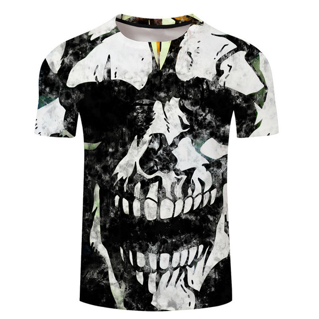 1e068da3cc00 2018 New Mens Summer Skull Poker Print Men Short Sleeve T-shirt 3D T Shirt  Casual Breathable T-shirt Plus-size T-shirt Dropship