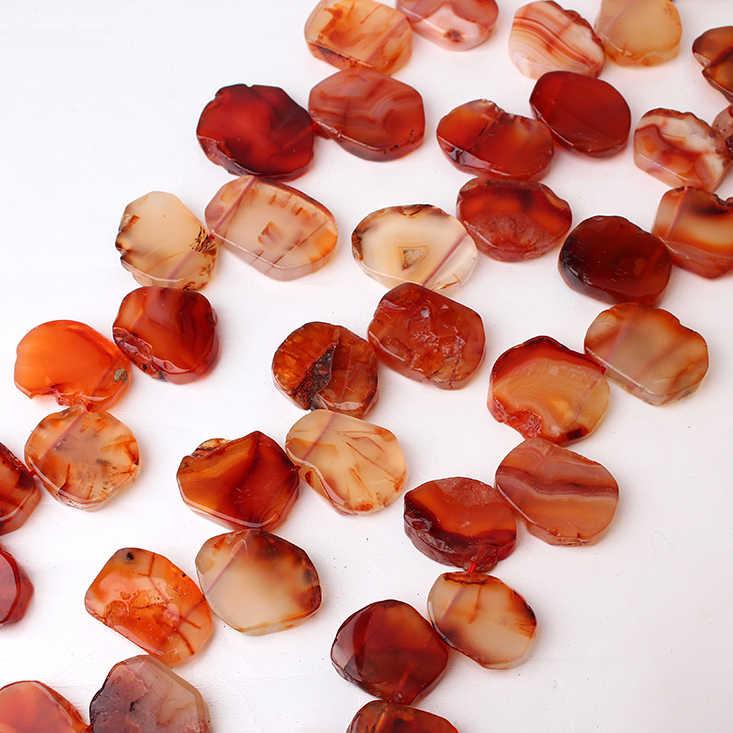 Naturel rouge une porte tranche pépite lâche perles brin percé poli dalle Semi-précieuse pierre gemme pendentif bricolage fabrication