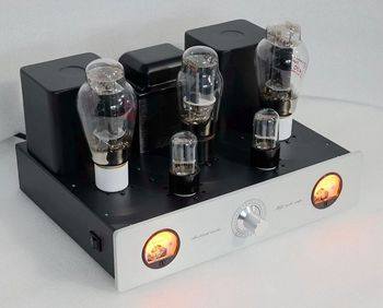 Katherin 2A3 VT95 Tube Amplifier 4W Stereo Single Ended Class A Tube Amp,6SL7/2A3/5U4G,Two VU Meters,2 Ways Audio Input