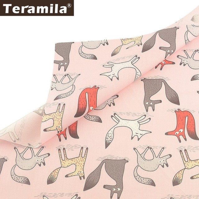 Teramila Foxes Animal Design 100% Cotton Fabric Pink Tecido DIY Patchwork Pillow  Quilting Cloth Sewing Home Textile  Bed Sheet