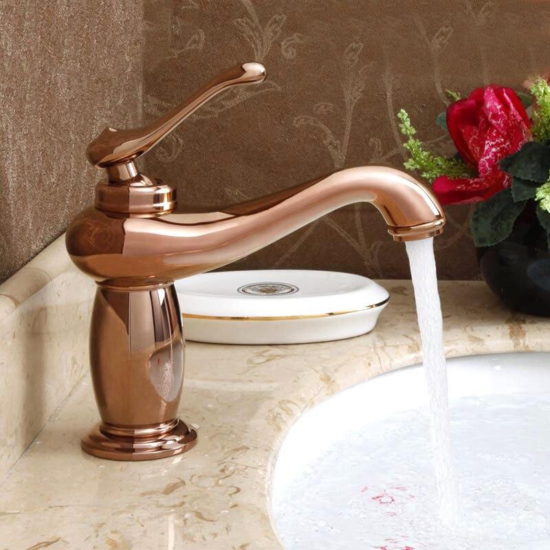 Livraison gratuite, design européen de luxe or cuivre salle de bain bassin robinet froid et chaud salle de bains mélangeurs d'eau robinets