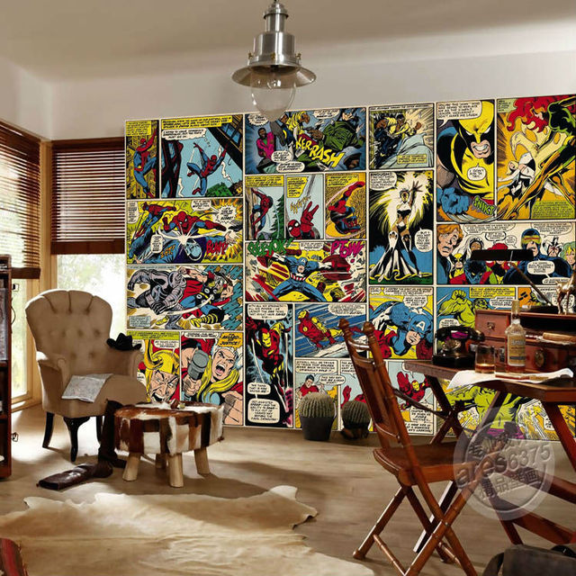Marvel Comics Wallpaper Custom 3D Wall Murals Captain America Photo wallpaper Kids Boys Bedroom Office Shop Art Room decor Hulk