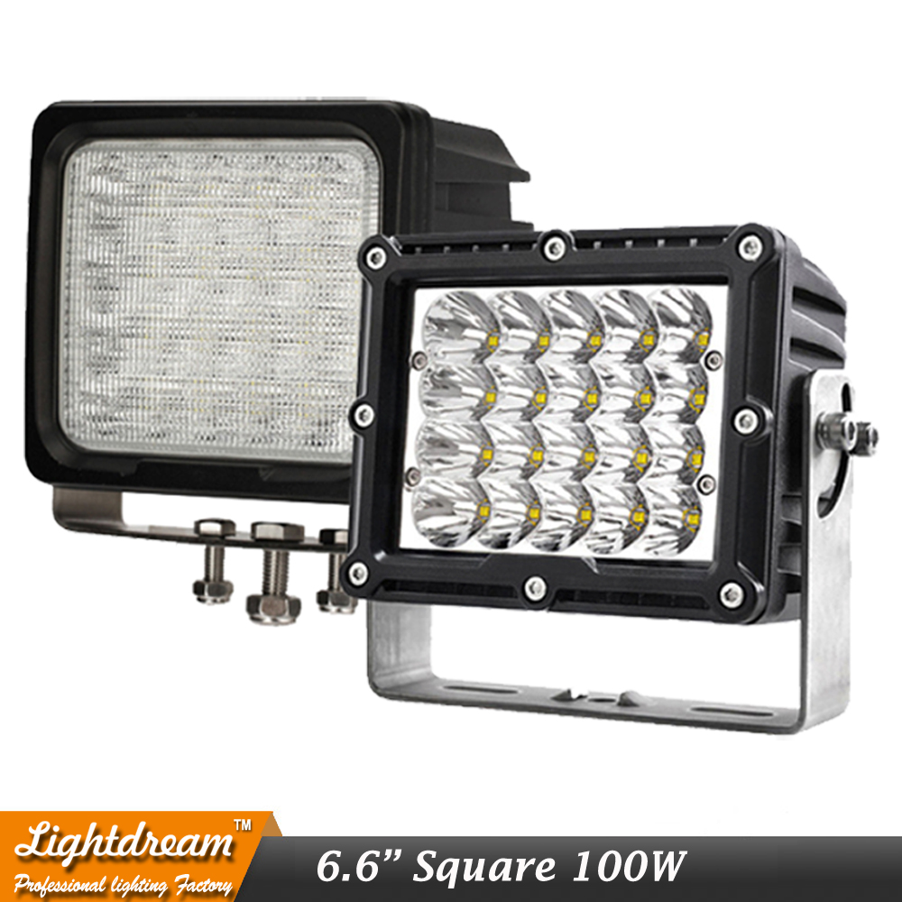 100W Square led Driving Work Spot Lights 12V 24V IP67 Off Road Car Truck Headlights White 6000K LED Heavy duty work light x1pc lyc 6000k led daylight for citroen c4 for nissan led headlights 12v car led lights ip 68 chips offroad work light 40w