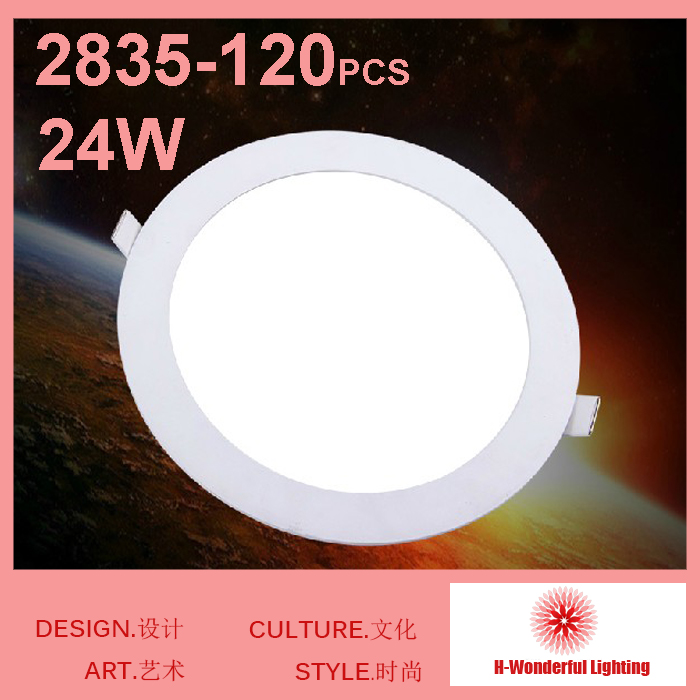 24W Round LED Panel Light AC85-265v Recessed Downlight Ceiling Bulbs 90pcs SMD2835 Chips Warm white / White Freeshipping 48w samsung 5630 mounted recessed led ceiling panel light 60x60cm 3800 4200lm 2700 7000k color white pure white warm white
