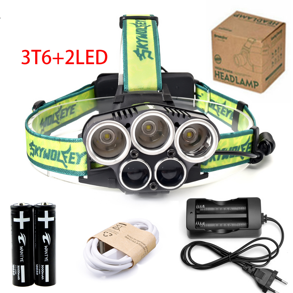 10000lm LED T6+2LED waterproor Headlamp Headlight 6 Mode rechargerable USB Light Head light Lighting lamp Flashlight head Torch 3 xml t6 2 blue light led headlamp 15000lm usb rechargerable led headlight head lamp 5 mode head torch for fishing lantern light