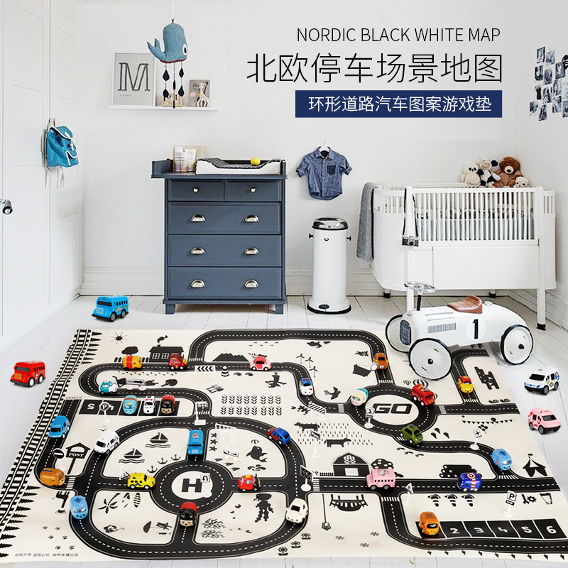 Children's Education Game Rug Carpet Game Accessories Toy Car Town Traffic Map Parking Carpet Parent-child Baby Play Mat Toys