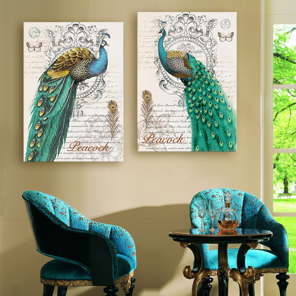 Hd Oil Painting Green Peacock Decoration Painting Home Decor On Canvas Modern Wall Art Canvas Print